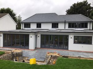 house extension with bifold doors and lantern roofs surrey